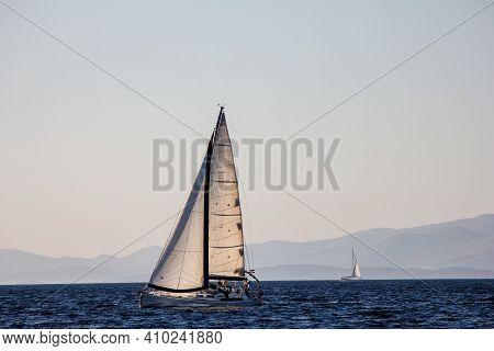 Adriatic Sea, Croatia - October 1, 2011: View Of A Sailboat On The Adriatic Sea In Croatia