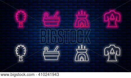 Set Line Sauna Bucket And Ladle, Aroma Candle, Broom And Massage With Aroma Oils. Glowing Neon Icon