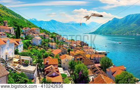 Historic City Of Perast At Bay Of Kotor In Spring, Montenegro