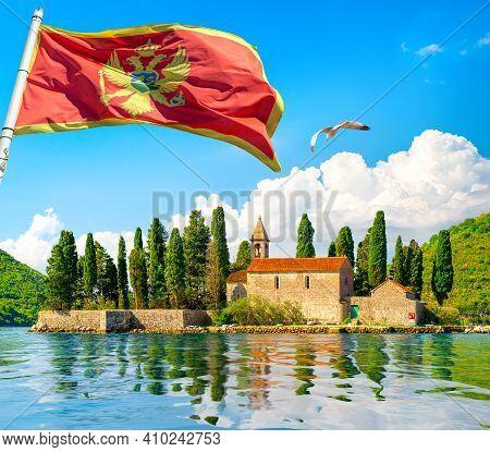 Beautiful Mediterranean Landscape. St. George Island Near Town Perast, Kotor Bay, Montenegro