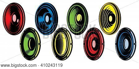 Set Of Eight Oval Speakers. Vector Color Illustration. Elements For Design. White Background.