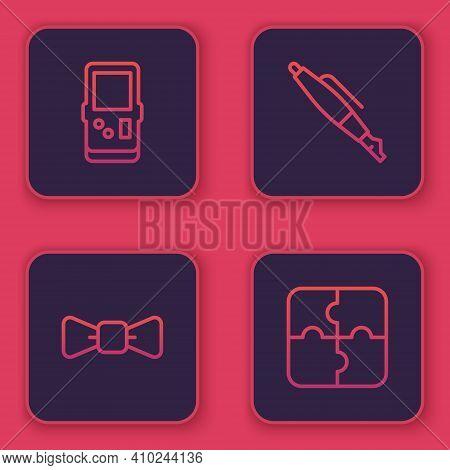 Set Line Tetris, Bow Tie, Fountain Pen Nib And Piece Of Puzzle. Blue Square Button. Vector