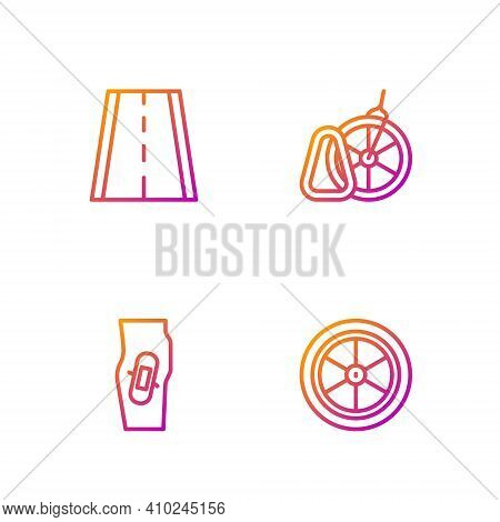 Set Line Bicycle Wheel, Plaster On Leg, Lane And Parking. Gradient Color Icons. Vector