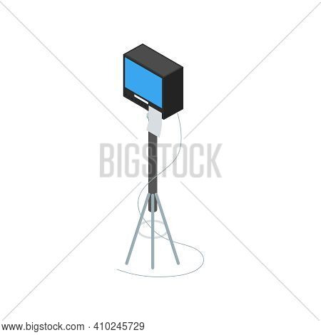 Isometric Cinematography Composition With Isolated Image Of Lighting Box On Tripod Vector Illustrati