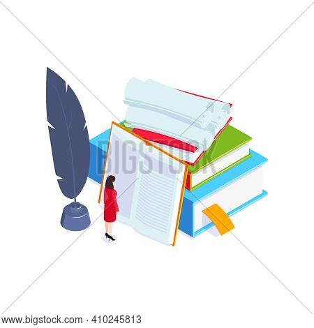 School Subjects Isometric Composition With Images Of Books And Copybooks With Vintage Paper Rolls Ve