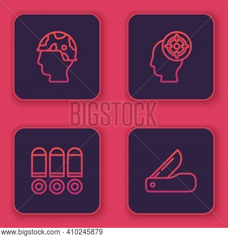Set Line Army Soldier, Bullet, Target Sport And Swiss Army Knife. Blue Square Button. Vector