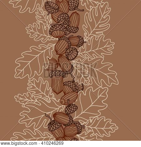 Vertical Abstract Seamless Pattern Of Oak Acorns, For Backdrops Designs, Textiles, Fabrics, Vector I