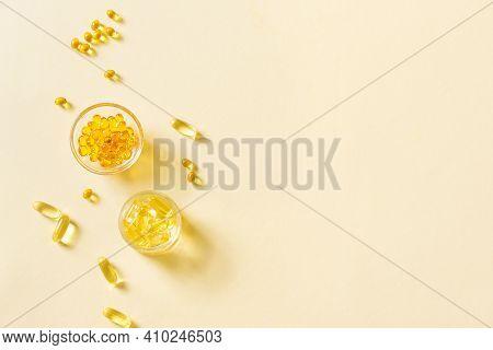 Oil Filled Capsules (softgel) Of Food Supplements: Fish Oil, Omega 3, Omega 6, Omega 9, Vitamin A, V