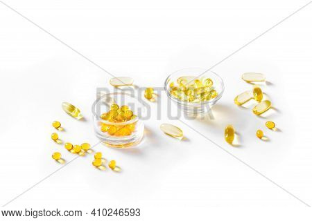 Oil Filled Capsules (softgel) Of Food Supplements: Fish Oil, Omega 3, Omega 6, Omega 9, Vitamin A,