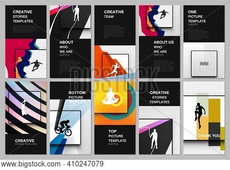 Social Networks Stories Design, Vertical Banner Or Flyer Templates. Covers Templates For Flyer, Leaf