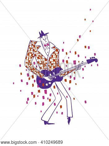 Illustration With Funny Isolated Guitar Player In Suit. Jazz Musician Character Drawing.