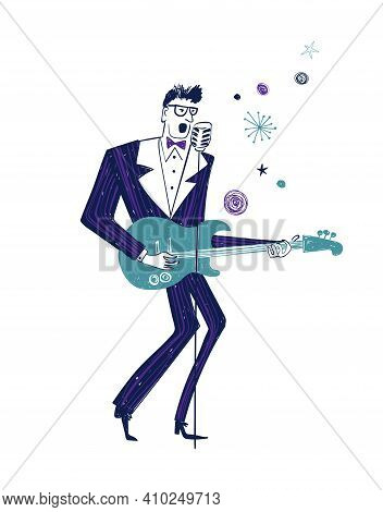 Illustration With Isolated Singing Guitar Player In Striped Suit. Funny Jazz Musician Character Draw