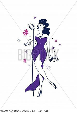Illustration With Cartoon Isolated Beautiful Woman Singer. Jazz Musician Character Drawing.