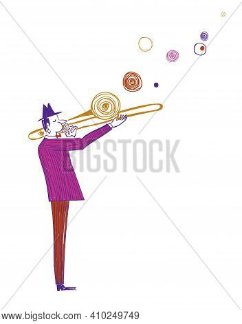 Illustration With Funny Isolated Trombone Player In Suit. Jazz Musician Character Drawing.
