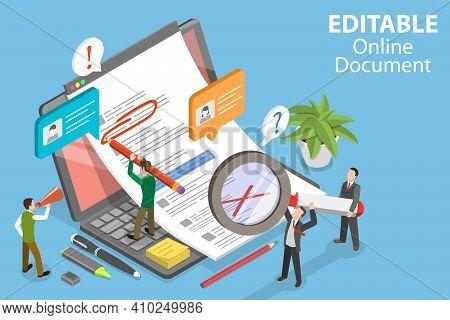 3d Isometric Flat Vector Conceptual Illustration Of Editable Online Document.