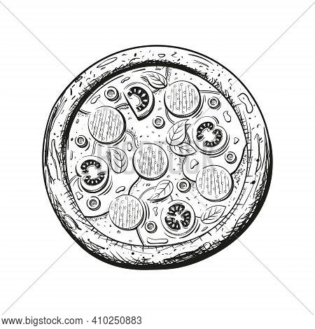 Sketch Of Italian Pizza Isolated On White Background. Pepperoni Pizza Close-up View From The Top. Ve