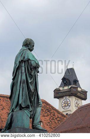 Detail Of Erzherzog Johann Fountain At Hauptplatz (main Square) And The Famous Clock Tower (grazer U