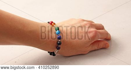 Colorful Bright Bracelet. Bracelet Made Of Stones On Hand From Natural Stone Colorful Bright. Bracel