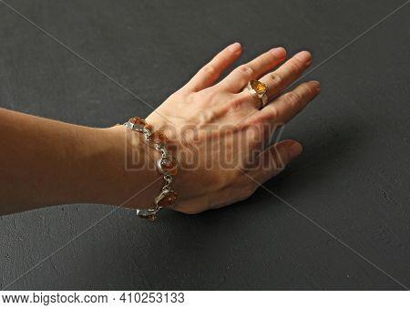 Citrine Bracelet. Bracelet Made Of Stones On Hand From Natural Stone Citrine. Bracelet Made Of Natur
