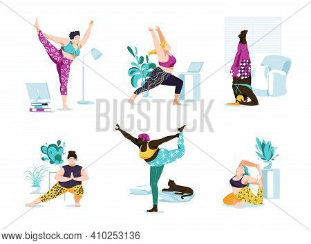 Female Characters Yoga Class And Sport Activities Set. Different Races Yogi Women Doing Sports Exerc