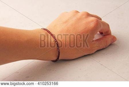 Garnet Bracelet. Bracelet Made Of Stones On Hand From Natural Stone Garnet. Bracelet Made Of Natural