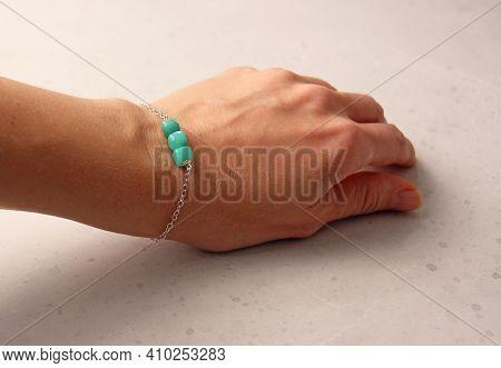 Chrysoprase Bracelet. Bracelet Made Of Stones On Hand From Natural Stone Chrysoprase. Bracelet Made