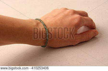 Emerald Bracelet. Bracelet Made Of Stones On Hand From Natural Stone Emerald. Bracelet Made Of Natur