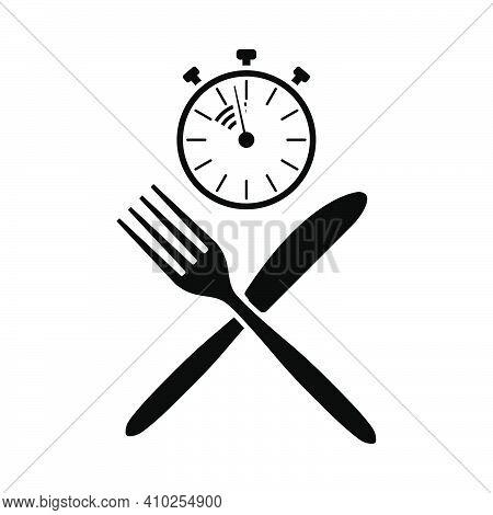 Fast Lunch Icon. Black Stencil Design. Vector Illustration.