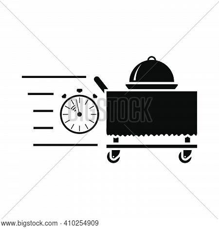 Fast Room Service Icon. Black Stencil Design. Vector Illustration.