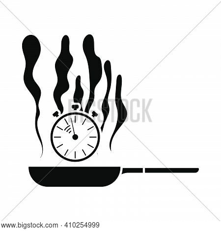 Pan With Stopwatch Icon. Black Stencil Design. Vector Illustration.