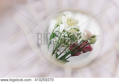 Beautiful Flowers Reflected In Mirror On Background Of Soft Fabric. Hello Spring And Floral Scent Co