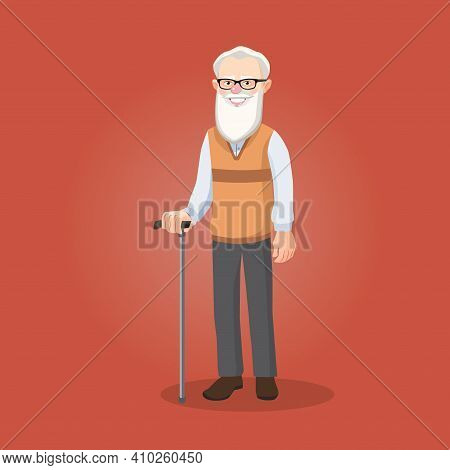 Bearded Old Man, Grandfather In Glasses With A Stick