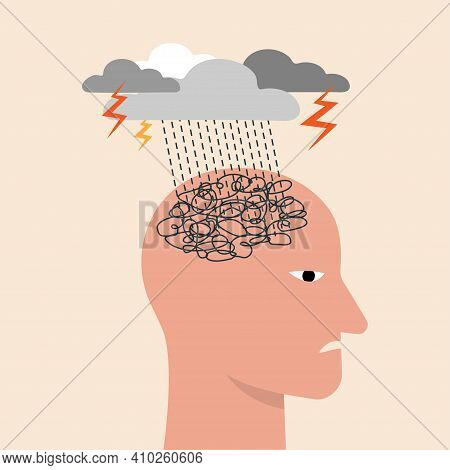 Depressed Or Mental Illness. Head Profile With Storm Cloud. Mindfulness And Stress Management In Psy