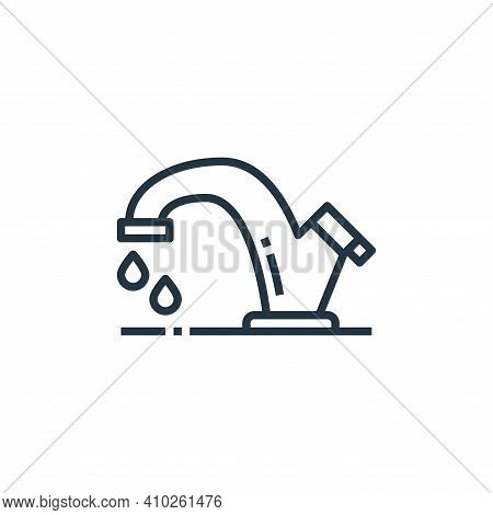 water tap icon isolated on white background from washing hand collection. water tap icon thin line o