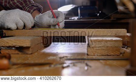 Man Work Overtime At Night. Woodworking And Diy Vintage Wooden For Home Decoration. Carpenter And Cr