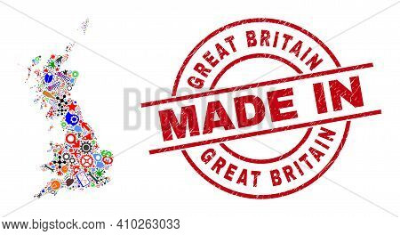 Science Great Britain Map Mosaic And Made In Grunge Stamp Seal. Great Britain Map Mosaic Designed Wi