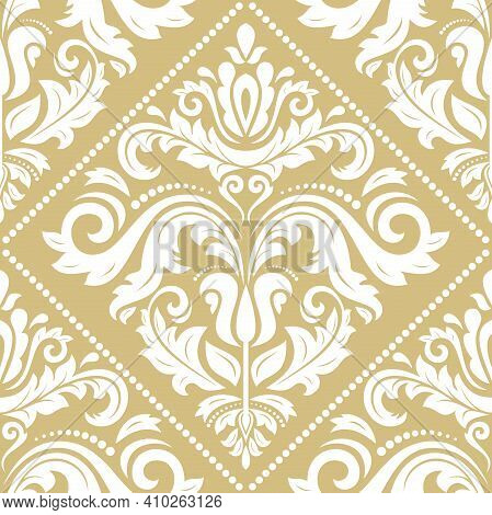 Classic Seamless Pattern. Damask Orient Golden And White Ornament. Classic Vintage Background. Orien
