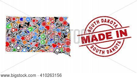 Industrial South Dakota State Map Mosaic And Made In Distress Rubber Stamp. South Dakota State Map A