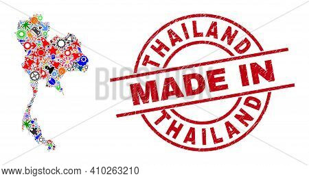 Technical Thailand Map Mosaic And Made In Grunge Rubber Stamp. Thailand Map Composition Designed Wit