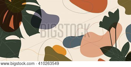 Abstract Organic Retroc Shape Of Leaf Design Decorative Artwork Template. Overlapping Design Of Colo