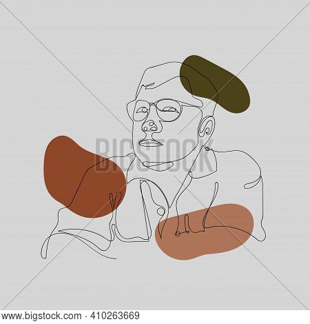 Abstract Men Face Drawing Of Illustration Style Shape. Decorative With Retro Style Of Minimal Color