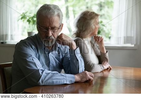 Frustrated Middle Aged Family Couple Ignoring Each Other