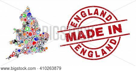 Science Mosaic England Map And Made In Scratched Rubber Stamp. England Map Collage Created With Span