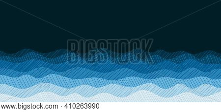 Abstract Ocean Blue Wavy Style Of Drawing Doodle Pattern Artwork Template. Overlapping Design Of Min