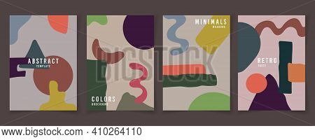 Abstract Colors Shape Style Of Pattern 80s Retro Template Set. Drawing Style Of Colorful Header Back