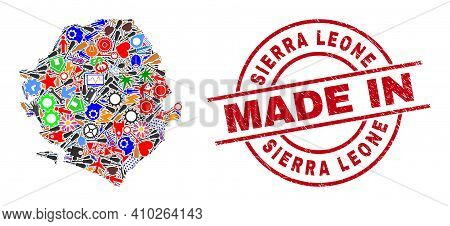 Engineering Mosaic Sierra Leone Map And Made In Grunge Stamp. Sierra Leone Map Collage Formed With W