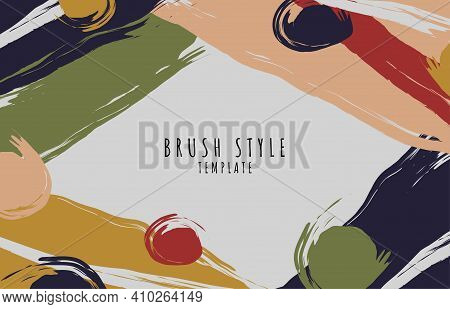 Abstract Brushing Colorful Design Artwork Of Retro Style Template. Overlapping With Free Hand Drawin