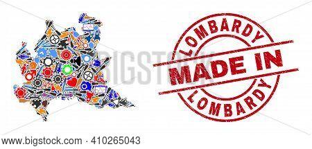Development Lombardy Region Map Mosaic And Made In Textured Rubber Stamp. Lombardy Region Map Mosaic