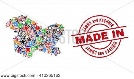 Development Jammu And Kashmir State Map Mosaic And Made In Textured Stamp Seal. Jammu And Kashmir St