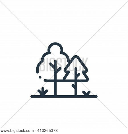 trees icon isolated on white background from in the village collection. trees icon thin line outline